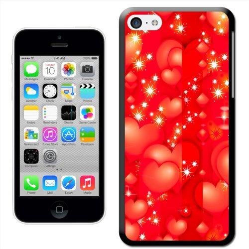 Fancy A Snuggle Coque rigide à clipser motif cœurs Motif bulles en cœur Rouge Coque arrière rigide à clipser pour Apple iPhone 5C