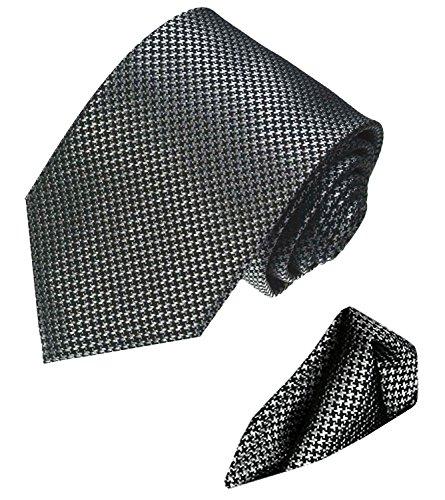 LORENZO-CANA-Luxury-Italian-100-Silk-Tie-Hanky-Set-Grey-Silver-Black-8447401