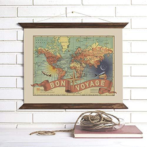 Amazon Com Travel Map Pull Down Wall Art Bon Voyage Wendy Gold