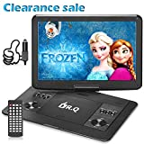 DR.Q 16.8 Inch Portable HD DVD Player 1280x800 14.1 Inch Swivel Screen | Region Free HD CD Player with Remote Control, Car Charger, AV Cable to Sync TV and Projector