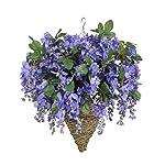 Silk Flower Arrangements House of Silk Flowers Artificial Violet Wisteria in Cone Hanging Basket