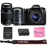 Canon EOS 80D SLR Digital Camera Body + Canon EF-S 18-135mm f3.5-5.6 + Canon EF 75-300mm f4-5.6 III + Camera Works Camera Cleaning Cloth & Solution
