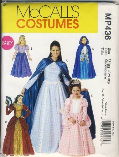 McCall Sewing Pattern MP436 (M6420) - Use to Make - Easy Misses Renaissance / Medieval / Princess Costumes - Sizes S, M, L, XL
