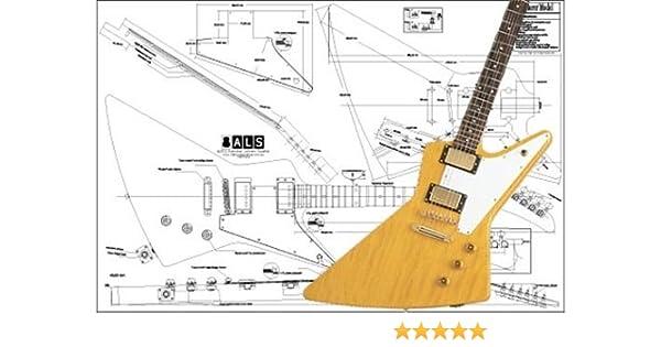 Plano de guitarra eléctrica Gibson Explorer (impresión a escala ...