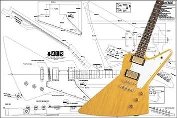 Plano de guitarra eléctrica Gibson Explorer (impresión a escala completa): Amazon.es: Instrumentos musicales