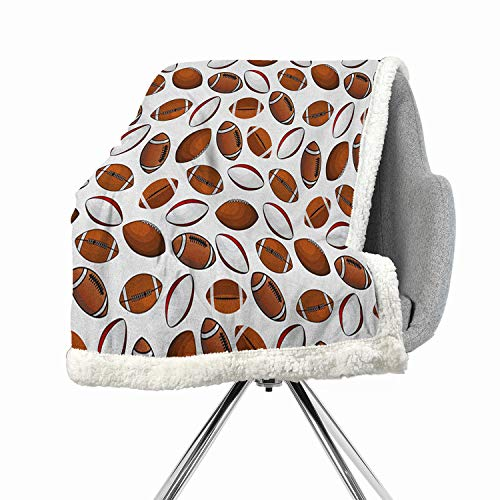 BenmoHouse American Football Berber Fleece Lightweight Fluffy Flannel and Sherpa Blanket 60 by 78 Inch Bed Cover Caramel Ruby White Classic Design Rugby Balls in Cartoon Style Sports Competition