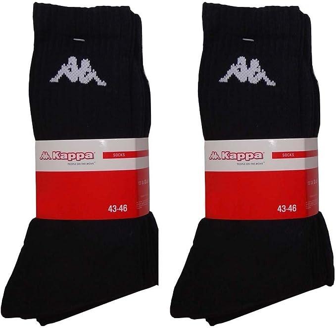 KAPPA 6 paia calze sportive da tennis lavoro da uomo per il tempo libero da uomo bianco//nero