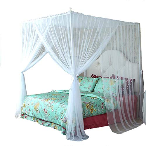 White Twin Canopy - Mengersi 4 Corner Bed Canopy Curtain Mosquito Net Bed Frame Draperies (Twin, White)