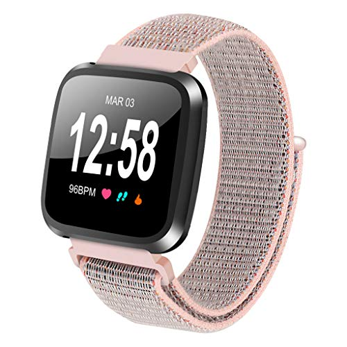 ⌚ Replacement Nylon Bracelet Watch Band Wrist Sports Strap For Fitbit Versa Lite Watch Band 40mm 44mm 42mm 38mm♔Sunbon Deployment Buckle Watch Strap Watch Clasp Buckle with 4/3/2/1 (Pink)