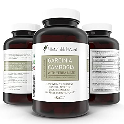 Pure Garcinia Cambogia with Energy from Yerba Mate. Weight Loss and Diet Pill, Appetite Suppressant Helps Increase Metabolism, Boost Energy without Jitters or Crashes, All While Burning Fat, 180 Caps