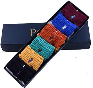 Shengshihuizhong Chaussettes pour Hommes, Chaussettes désodorisantes en Coton Absorbant la Sueur des Quatre Saisons, Chaussettes de Running pour Hommes, Six Paires de boîtes-Cadeaux, Toute la Taille,