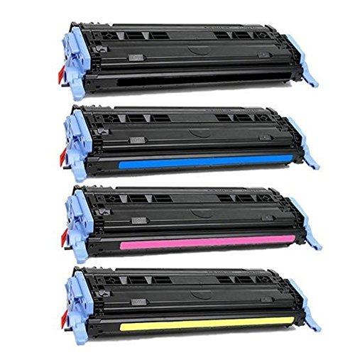 (HOTCOLOR Compatible for 124A (Q6000A, Q6001A, Q6002A, Q6003A) Toner Cartridge Set for Color Laserjet CM1015mfp,CM1017mfp,1600 Printers)