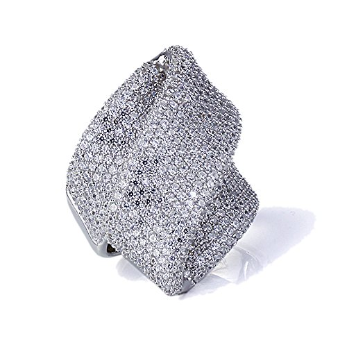 Rhodium Plated Sterling Silver Flowing Illusion Design, CZ Beautiful Pave Set Right Hand Ring 24mm Size 8, 8
