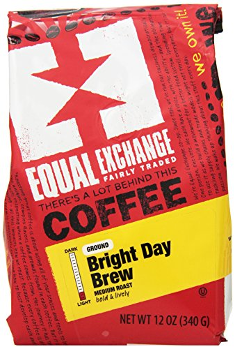 Equal Exchange Organic Ground Coffee, Bright Day Brew Bag ,12 Ounce (Pack of 3) 1 Contains 3 bags, 12 oz per bag (36 oz) TASTE: Organic Ground Bright & Lively Bright Day Brew with Balanced Flavors of Sweetness & Chocolate ROAST: Medium Roast Blend