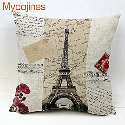 Amazon.com: Eiffel Tower Throw Pillow Case France Red Wine ...