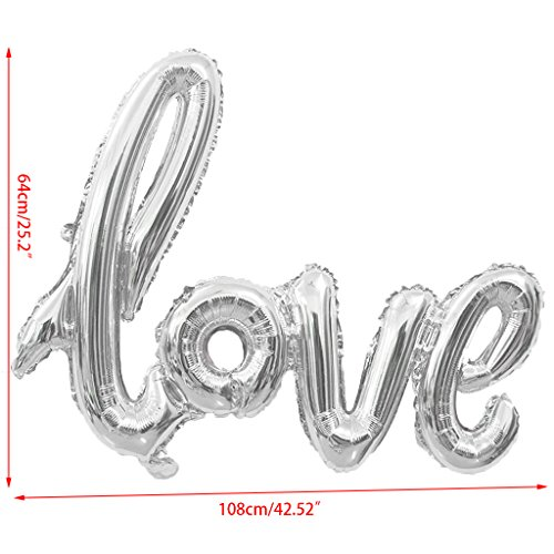 OTGO Love Letter Foil Balloon for Birthday Wedding Anniversary Valentines Party Decor (Silver)