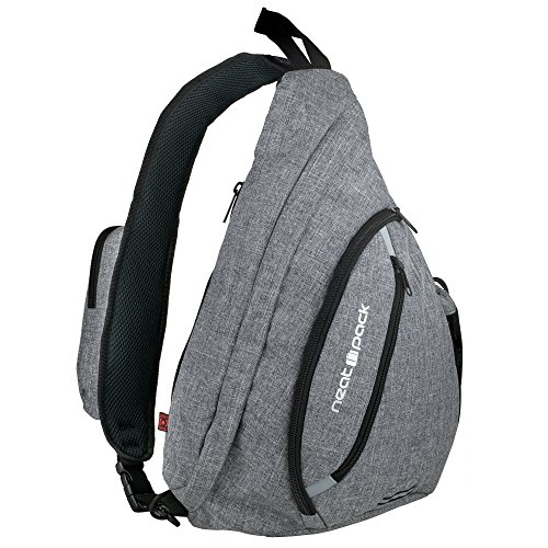 Versatile Canvas Sling Bag / Urban Travel Backpack, Grey | Wear Over Shoulder or Crossbody for Men & Women, by NeatPack (Safety Sling)