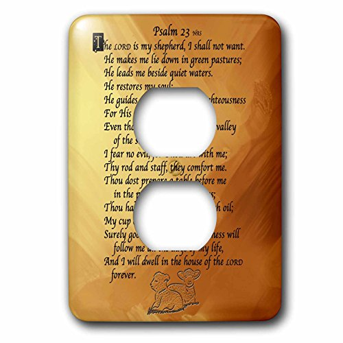 """3dRose lsp_58716_6 Psalm 23 """"The Lord Is My Shepherd"""" on A Golden Background with Two Small Lambs Faux Embossed   2 Plug Outlet Cover"""