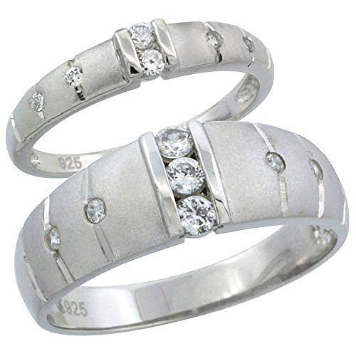 Sterling Silver Cubic Zirconia Wedding Band Ring 2-Piece Set 7.5 mm Him & Hers 3.5 mm Channel Set, Ladies' Size - 3.5 Mm Set Channel