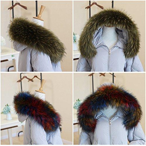 Giacca Sintetica Trim Collo Raccoon In 70 Avvolgente Pelliccia Fake 90cm Cappotto Verde Lungo Sciarpa A06 Fur Invernale ECYC® Per HfIwq7q