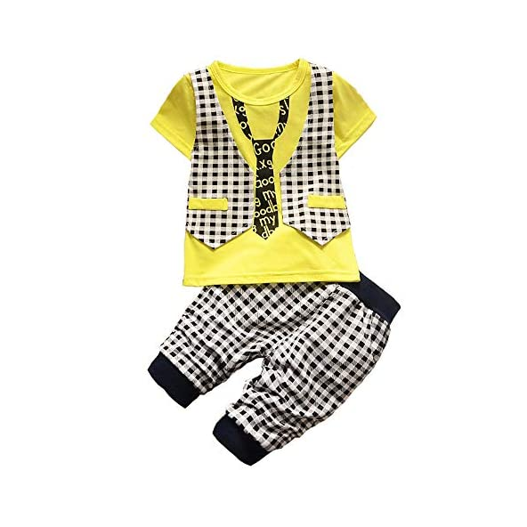 BibiCola Baby Boy Clothes Summer Clothing Set Toddler Children Lattice Pant Sets