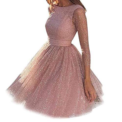 Tangzhan Vrouwen Glitter Jurk, A-lijn Avondfeestjurk, Cocktail Formele Prom Bruiloft Baljurk Pailletten
