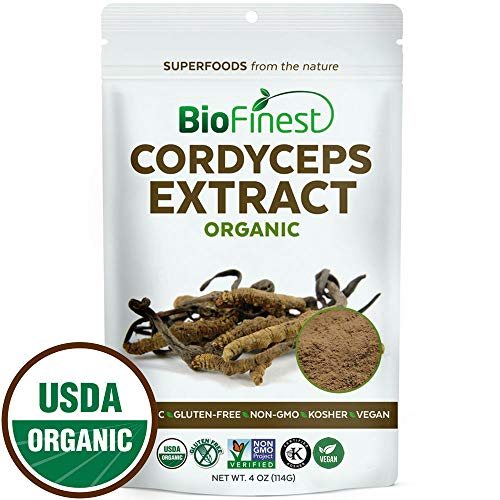 Biofinest Cordyceps Sinensis Mushroom Extract Powder - 100% Freeze-Dried Superfood - USDA Organic Vegan Raw Non-GMO - Boost Stamina Immunity - for Smoothie Beverage Blend (4 oz Resealable Bag)