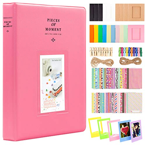 Ablus 2x3 Inch Photo Paper Film Album Set for Fujifilm Instax Mini Camera, Polaroid Snap, Z2300, SocialMatic Instant Cameras & Zip Instant Printer (128 Pockets, Flamingo Pink) from Ablus
