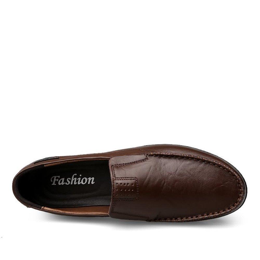 Xiazhi schuhe, Slip Herren Leder gefütterte Casual Slip schuhe, on Loafers Atmungsaktive Fahr Schuhe Mode Leichte Slipper Mokassins Drak Braun 7004ee