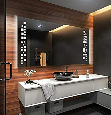 FORAM Badspiegel mit LED Beleuchtung - Nach Maß - Beleuchtet  Badezimmerspiegel Kalt/Warm Weiß A++ L38