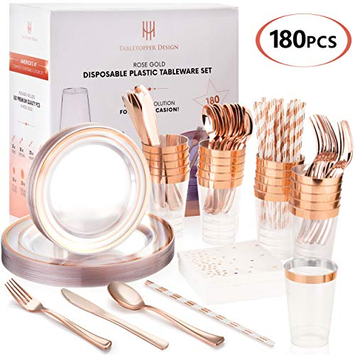 TT Design 180PCS Rose Gold Plates Set | Premium Disposable Plastic Tableware | Perfect for Birthdays, Weddings, Thanksgiving, Christmas | Heavyweight Quality Flatware & Silverware Party Decorations