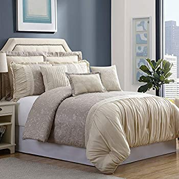 Image of Amrapur Overseas 8-Piece Jacquard Verona Comforter Set, King/California King, Tan Home and Kitchen