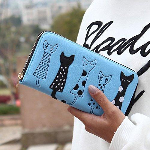 Cartoon Chat Cartes pour Hrph PU Monnaie Bourse Foncé Bleu Plusieurs Cuir Porte Etui Zipper Fille Porte Cadeau Femme Fille Longue Cute Cartes gEEq5w7