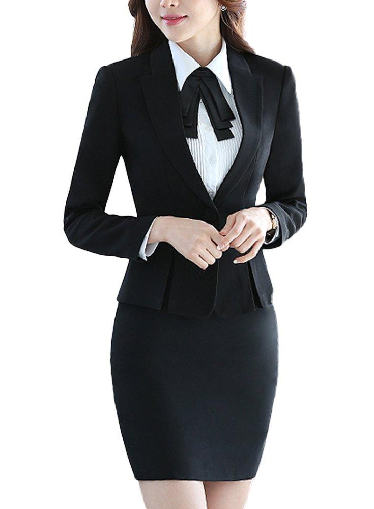 SK Studio Women's Two Piece Slim Fit Pants Dress Jacket Suits Black 14