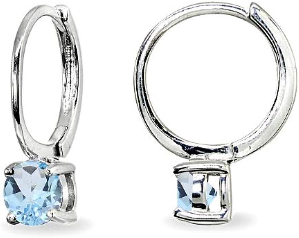 1000 Jewels 3mm Brilliant Cut Simulated Alexandrite Silver Stud Earrings
