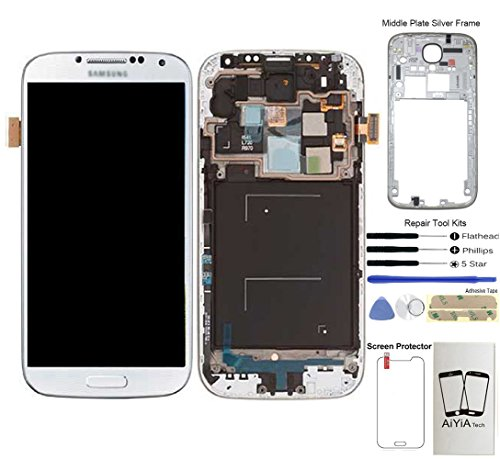 Display Touch Screen (AMOLED) Digitizer Assembly with Frame for Samsung Galaxy S4 SCH- I545 / SPH- L720 / SCH- R970 (for Mobile Phone Repair Part Replacement)(Free Repair Tool Kits) (White Frost)