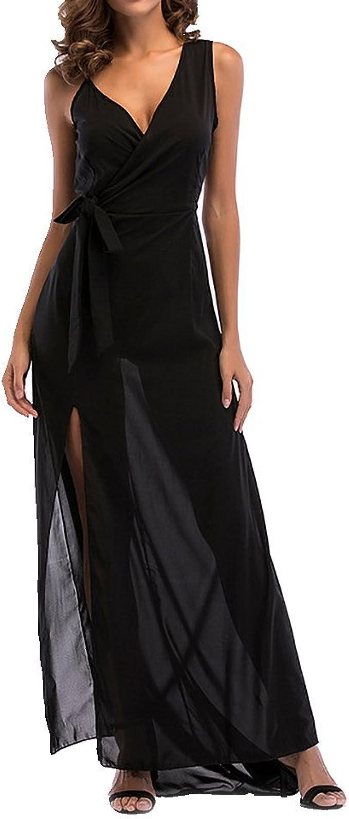 Blansdi Damen Ärmellos V-Ausschnitt Träger Kleid Lang