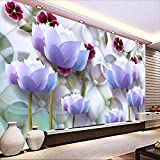 LHDLily 3D Wallpaper Mural Wall Sticker Thickening Modern Background Large Painting Lotus Circle Soft Pack Pared Hotel Bad Room For Living Room 400cmX300cm
