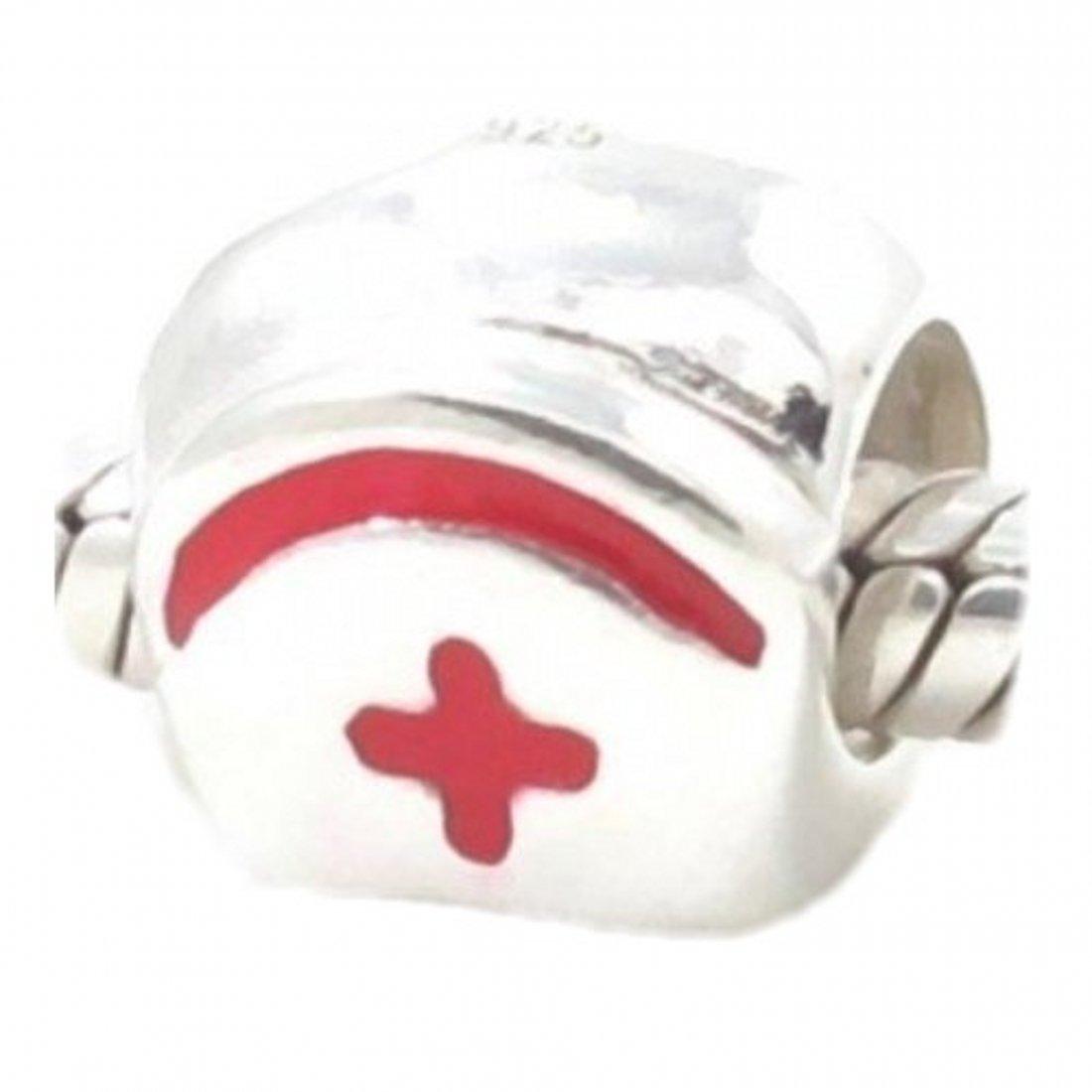 f4fa62596 Amazon.com: Beads Hunter Jewelry Nurse Hat Solid Silver European Bead Charm  Fits Pandora Biagi Troll Chamilia Bracelets (Red): Jewelry