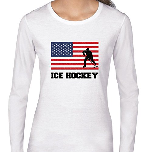 fan products of USA Olympic - Ice Hockey - Flag - Silhouette Women's Long Sleeve T-Shirt