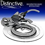 Distinctive Decorative Daisy Flower Stitch Sewing Machine Presser Foot – Fits All Low Shank Singer, Brother, Babylock, Euro-Pro, Janome, Kenmore, White, Juki, New Home, Simplicity, Elna and More!
