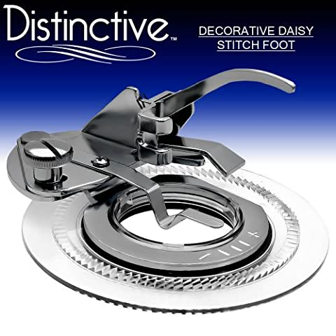 Distinctive Decorative Daisy Flower Stitch Sewing Machine Presser Foot - Fits All Low Shank Singer, Brother, Babylock, Euro-Pro, Janome, Kenmore, White, Juki, New Home, Simplicity, Elna and - Euro Pro Sewing