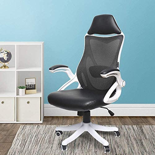 Ergonomic Desk Chair Leather Office Computer Adjustable Swivel Tilt Tension Lockable Flip-up Arm Cushion PU Leather Breathable Mesh High Back Lumbar Support Built-in Headrest Rubber Task White