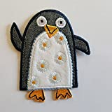 2 iron-on appliques set - Penguin 7X8Cm and Flower Owl 8X9Cm embroidered application set by TrickyBoo Design Zurich Switzerland