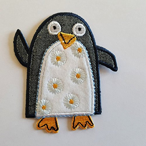 2 iron-on appliques set - Penguin 7X8Cm and Gingerbread Man 7X9Cm embroidered application set by TrickyBoo Design Zurich Switzerland