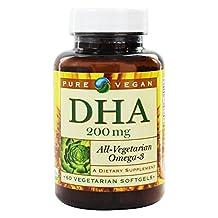 Pure Vegan DHA 200mg 60 Vegetarian Capsules Omega-3