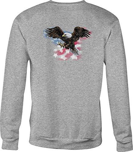 - Motorcycle Crewneck Sweatshirt American Bald Eagle Flying Over Flag - XL Gray
