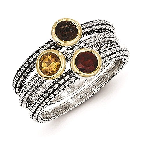 - Shey Couture - 925 Sterling Silver & Gold-tone Multi Color Stone Three Stackable Rings Size 8