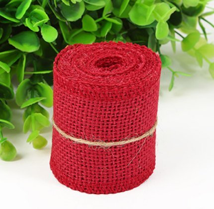 Huachnet Natural Jute Burlap Ribbon Roll Fabric for Wedding Party Home DIY Decoration (Dark Red)-Pack of (Red Burlap)