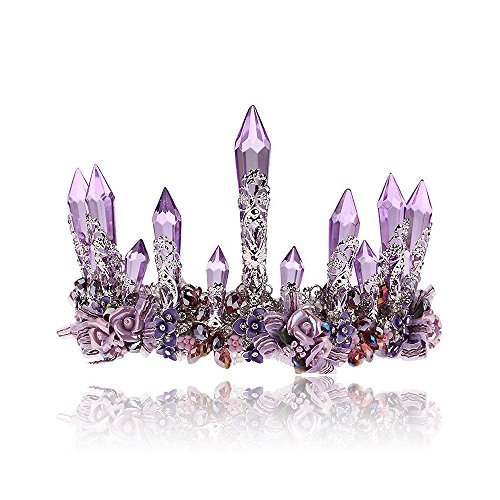 Crystal Crown Tiara Wedding Headband - AWAYTR Baroque Style Crystal Column Flower Wedding Headpiece Bridal Hair Accessories With Earrings